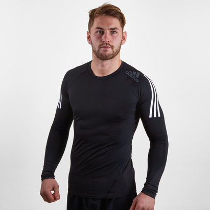 AlphaSkin SPR 3 Stripe L/S Compression Top