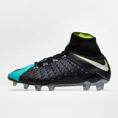 meilleur pas cher e23ff 63b07 Nike Hypervenom Phantom III DF Flyknit Pitch Dark FG Womens Football Boots  White