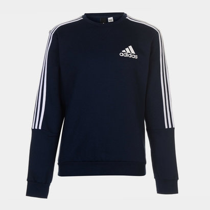 adidas Mens Crew 3 Stripes Pullover Sweatshirt