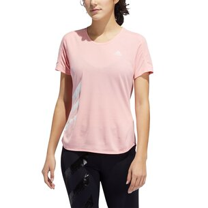 adidas Womens Run It 3 Stripes T Shirt