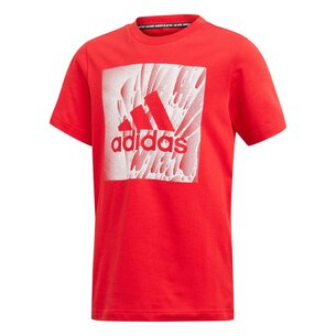adidas Box Print T Shirt Junior Boys
