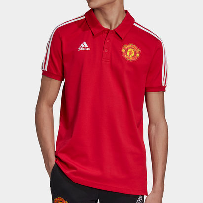 adidas Manchester United 3 Stripe Polo Shirt 20/21 Mens
