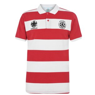 UEFA Euro 2020 Poland Stripe Polo Shirt Mens