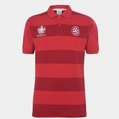 UEFA Euro 2020 Austria Stripe Polo Shirt Mens