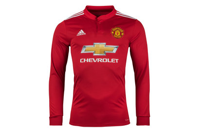 adidas Manchester United 17/18 Home L/S Replica Football Shirt