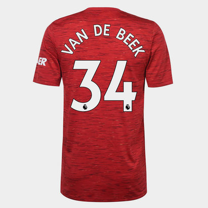 adidas Manchester United Donny Van de Beek Home Shirt 20/21 Mens