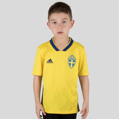 adidas Sweden 2018 Kids Home S/S Replica Football Shirt