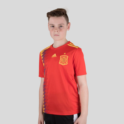 ac7a52e9465 adidas Spain 2018 Home Kids S S Replica Football Shirt
