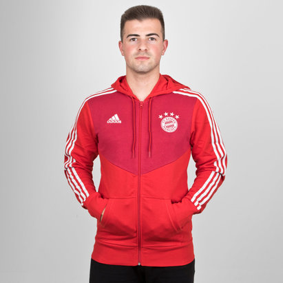adidas Bayern Munich 18/19 3 Stripe Full Zip Hooded Football Sweat