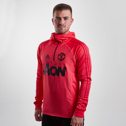 adidas Manchester United 18/19 1/4 Zip L/S Warm Up Hooded Top