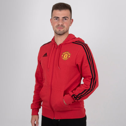adidas Manchester United 18/19 3 Stripe Full Zip Hooded Football Sweat