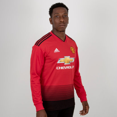 adidas Manchester United 18/19 Home L/S Replica Football Shirt