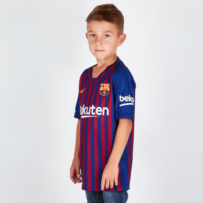 10718e36a90 Nike FC Barcelona 18 19 Home Kids S S Stadium Replica Football Shirt