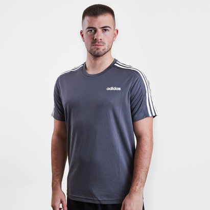 adidas D2M 3 Stripe Short Sleeve Tee Mens