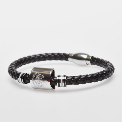Newcastle United Stainless Steel Leather Stripe Crest Bracelet
