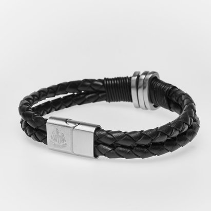 Newcastle United Stainless Steel Leather Crest Bracelet