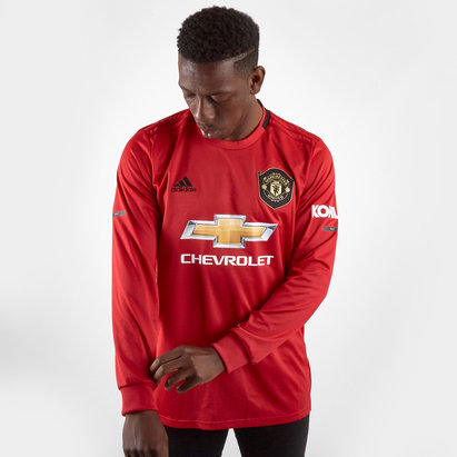 adidas Manchester United 19/20 Home L/S Replica Football Shirt