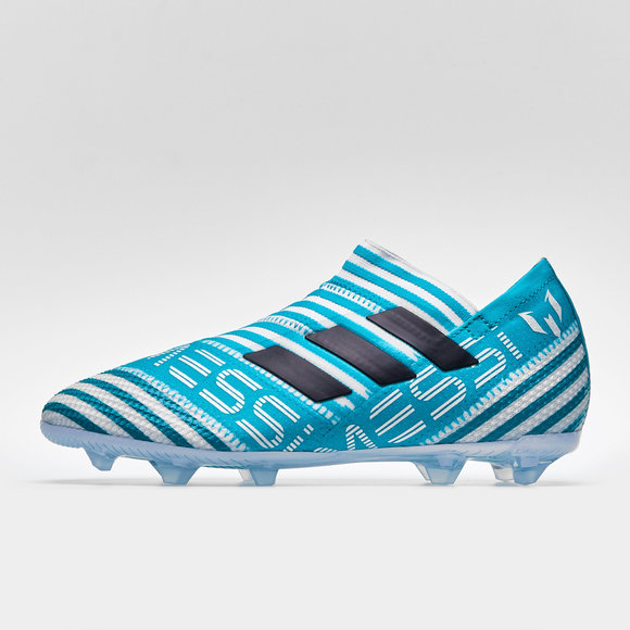 dbfdd4914c2 adidas Nemeziz Messi 17+ 360 Agility Kids FG Football Boots. White Legend  Ink Energy Blue