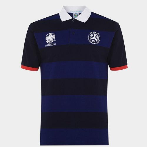 Euro 2020 England Stripe Polo Shirt Mens