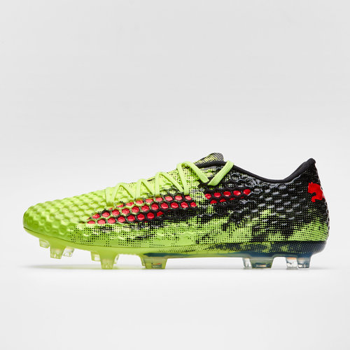 f686ad4da597 Puma Future 18.1 Netfit Low HyFG AG Football Boots. Fizzy Yellow Red Blast Puma  Black
