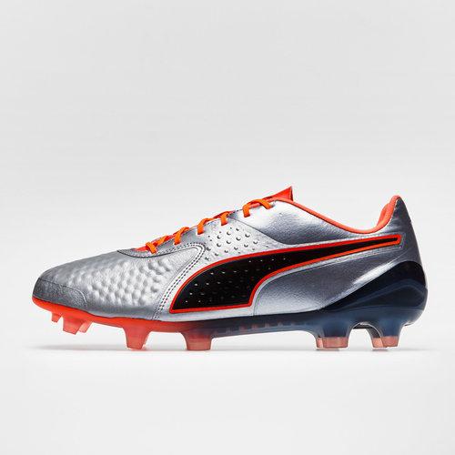 1946f3a19b8 Puma One 1 Leather Low FG Football Boots. Silver Shocking Orange Black