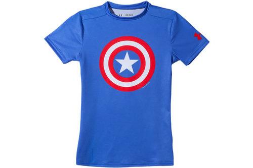 HeatGear Junior Alter Ego Compression Short Sleeve Top - Captain America