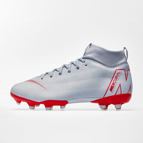 best service 86fe7 ebdbf Nike Mercurial Superfly VI Kids Academy GS FG MG Football Boots. Wolf Grey Light  Crimson Pure Platinum Metallic Silver