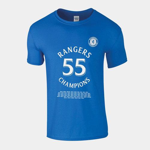 Rangers 55 Champions T-Shirt Mens