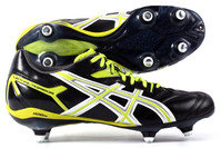 Asics Lethal Tigreor 6 ST SG Rugby Boots Black/Silver/Citron