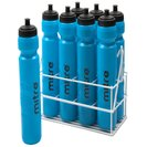 Metallic Crate with 8 x 1ltr Water Bottles Cyan/White