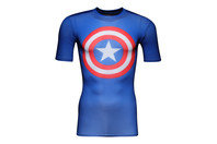 Captain America Logo Compression S/S T-Shirt Royal/Red