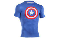 Captain America Logo Compression S/S Kids T-Shirt Royal/Red