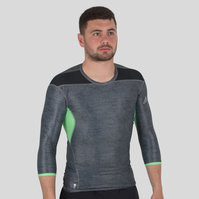 Techfit Climachill 3/4 Sleeve T-Shirt Black Melange/Semi Flash Green